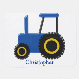 Blue Tractor Just Add Name Baby Blanket