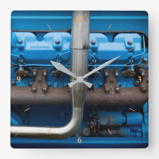 Blue Tractor Motor Square Wall Clock