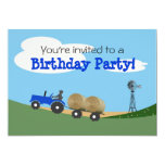 Blue Tractor Party Invitation 13 Cm X 18 Cm Invitation Card