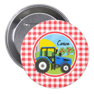 Blue Tractor; Red and White Gingham Pinback Button