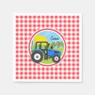 Blue Tractor; Red and White Gingham Disposable Napkin