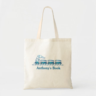 Blue train kids named library budget tote bag