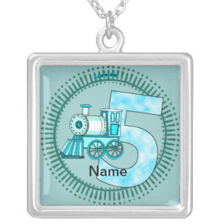 Blue Train Number 5 Silver Plated Necklace