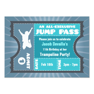 Blue Trampoline Jump Pass Invitation