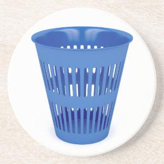 Blue trash can coaster