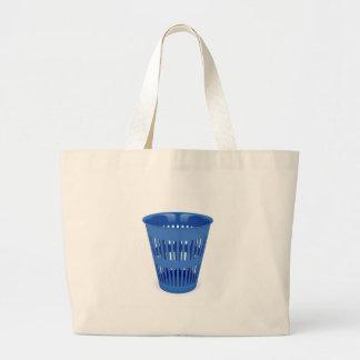 Blue trash can large tote bag