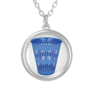 Blue trash can silver plated necklace