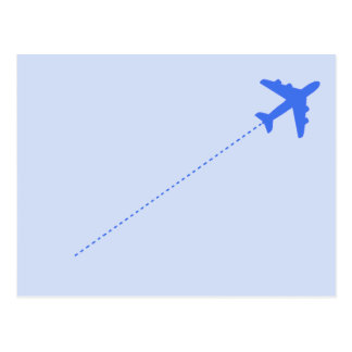 blue travel airplane with dotted line postcard
