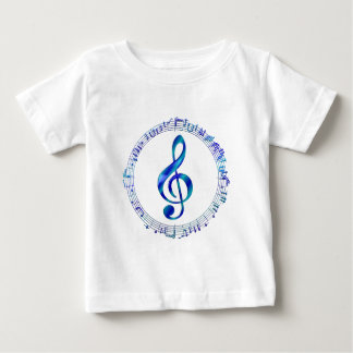 Blue Treble Clef With Music Notes Baby T-Shirt