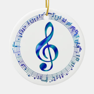 Blue Treble Clef With Music Notes Ceramic Ornament