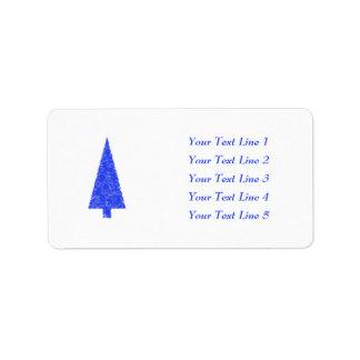 Blue Tree. Fir Evergreen Christmas Tree. Address Label