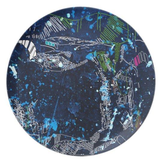 blue tree plate