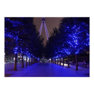 Blue Trees at the London Eye Poster