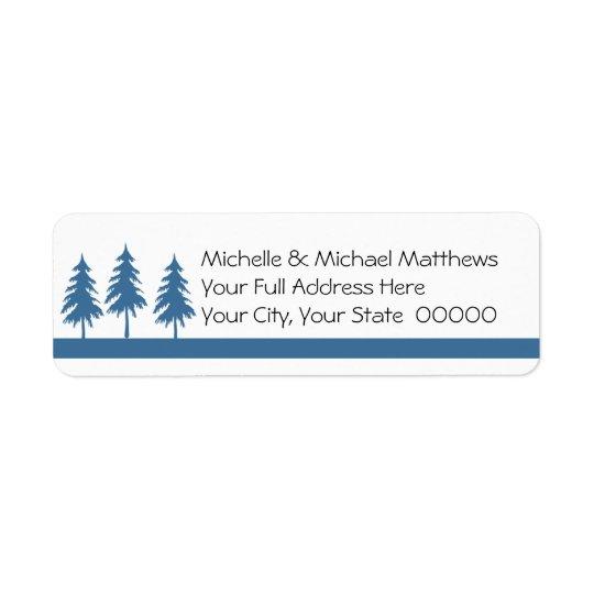 Blue Trees Informal Handwritten Look Wedding Return Address Label