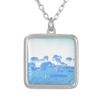 Blue Trees Silver Plated Necklace