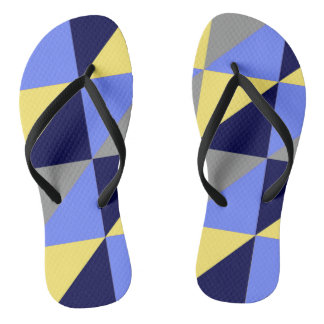 Blue Triangle Pattern Flip Flops