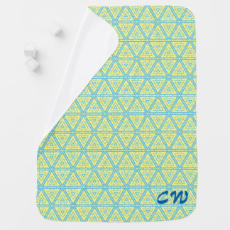 Blue triangle pattern initials receiving blanket