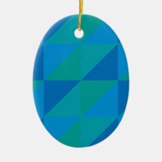 Blue Triangles Ceramic Ornament