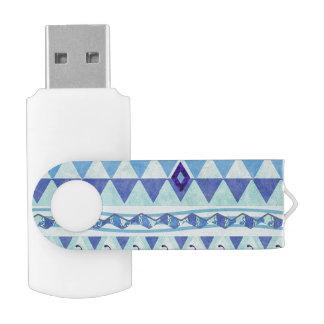 Blue Triangles Geometric Pattern USB Flash Drive Swivel USB 2.0 Flash Drive