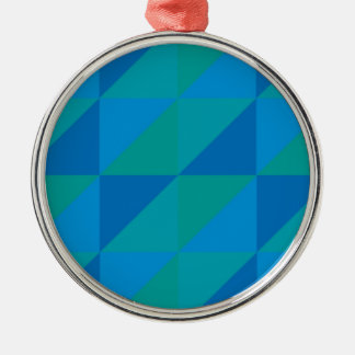 Blue Triangles Metal Ornament