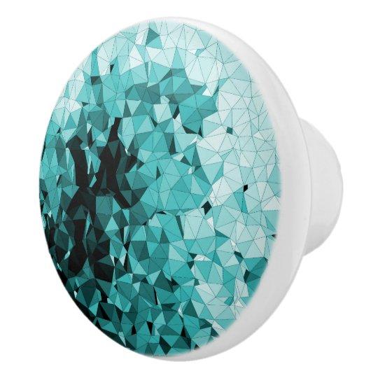 Blue Triangles Mosaic Pattern Ceramic Knob