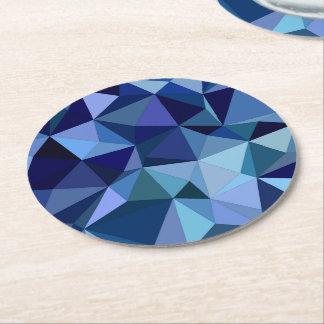 Blue triangles round paper coaster