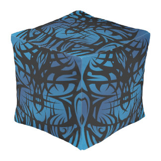 Blue Tribal Cube Bean Bags Pouf
