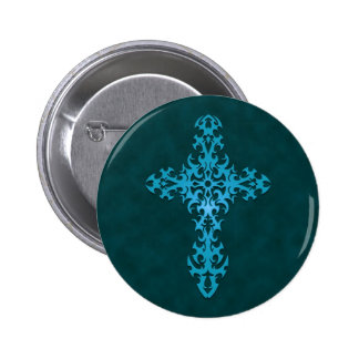 Blue Tribal Gothic Cross Button