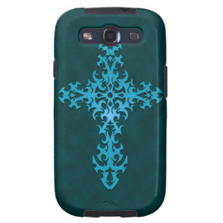 Blue Tribal Gothic Cross Galaxy SIII Cover