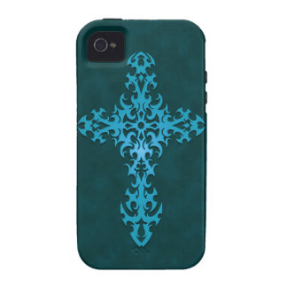 Blue Tribal Gothic Cross iPhone 4/4S Covers