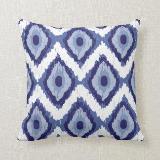 Blue Tribal Ikat Diamond White Chevron Throw Pillow