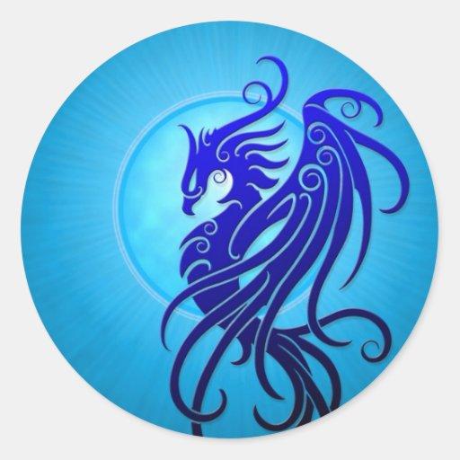 Blue Tribal Phoenix Round Sticker