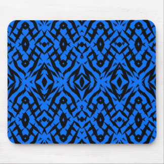 Blue tribal shapes pattern mouse pad