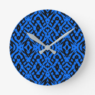 Blue tribal shapes pattern round clock