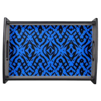 Blue tribal shapes pattern serving tray