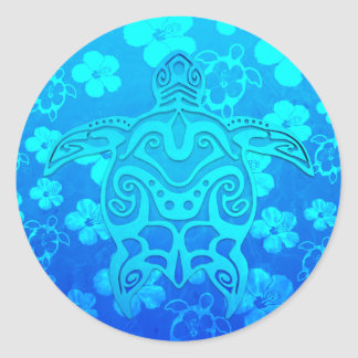 Blue Tribal Turtle Stickers