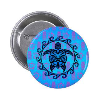 Blue Tribal Turtle Sun Button