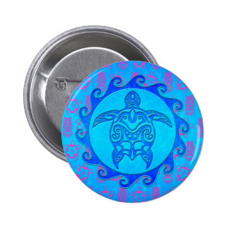 Blue Tribal Turtle Sun Buttons