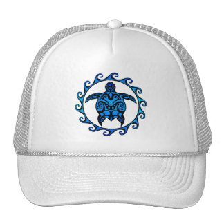 Blue Tribal Turtle Sun Trucker Hat
