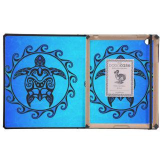 Blue Tribal Turtle Sun iPad Folio Cases