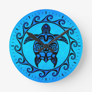 Blue Tribal Turtle Sun Round Wall Clock