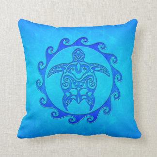 Blue Tribal Turtle Sun Pillow