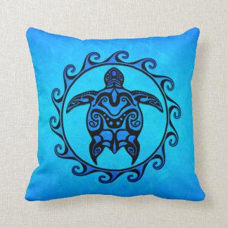 Blue Tribal Turtle Sun Pillows