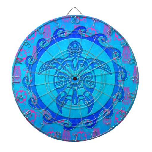 Blue Tribal Turtle Sun Dart Board
