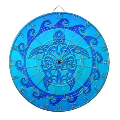Blue Tribal Turtle Sun Dartboards
