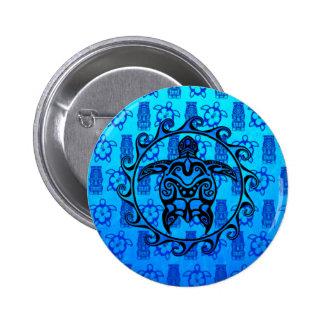 Blue Tribal Turtle Sun Pin