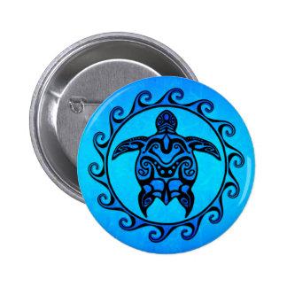 Blue Tribal Turtle Sun Pinback Button