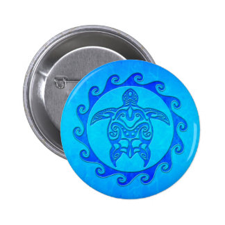 Blue Tribal Turtle Sun Pinback Buttons