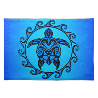 Blue Tribal Turtle Sun Placemat