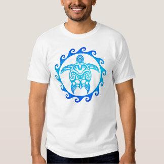 Blue Tribal Turtle Sun Shirts